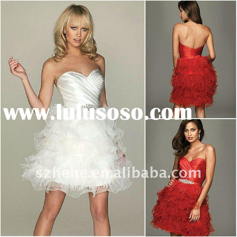 2012 homecoming wholesale cheap customized short white black red ostrich feather dress