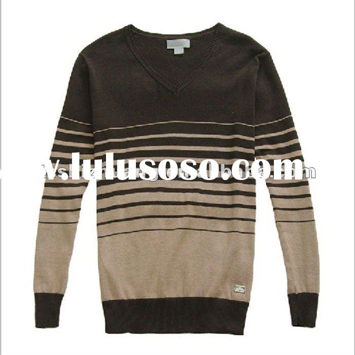 2012 hot new fashion hand made stripes pollover sweater design for men