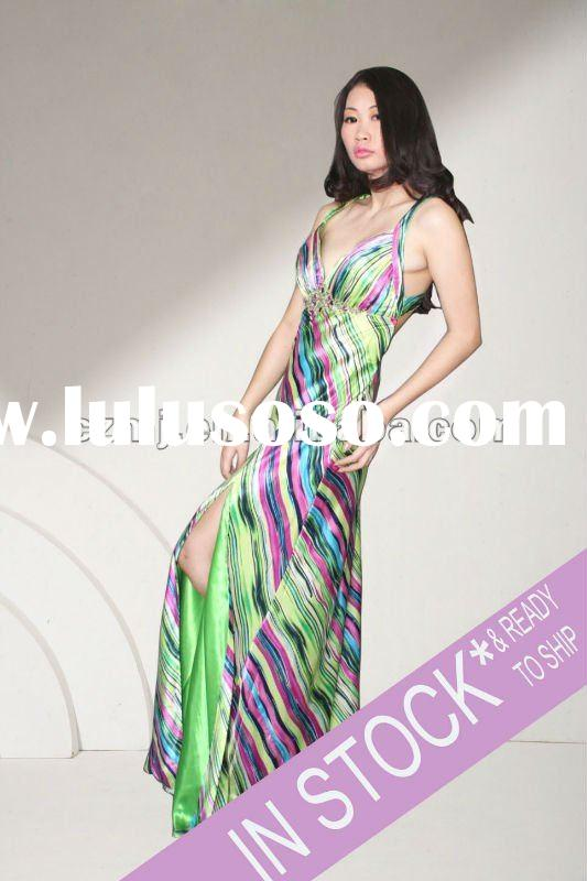 2012 new arrival sleeveless beaded long dresses for women evening dress