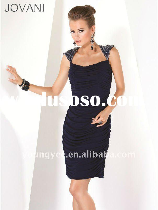 2012 new designer cap sleeve medium length evening dress 2011(EVED1006)