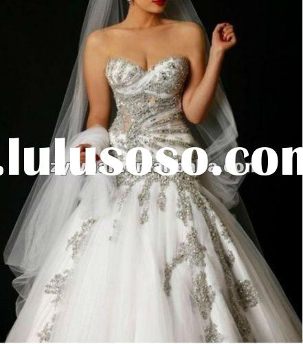 2012 new style sweetheart and rich embroidery beaded with long train bridal wedding dress /gown