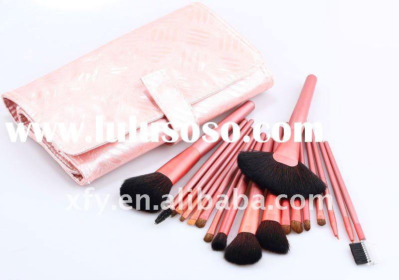 20 pcs pink leather makeup brush set ----hot sell