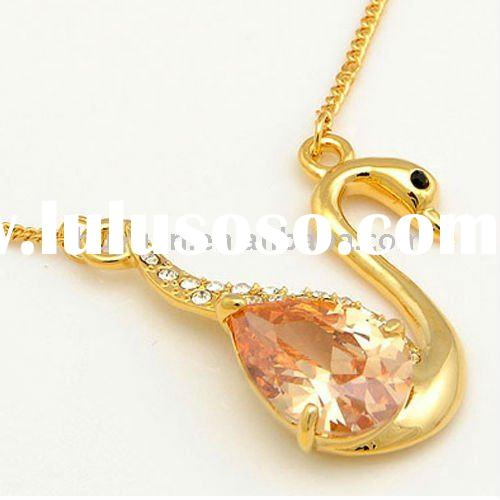 24k gold necklace with swan pendant