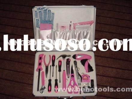 26 piece pink tool set with aluminum case ,DIY ladies tool