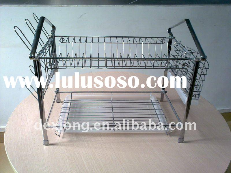 2 Tier Chrome Dish Drainer Strainer Rack With Tray
