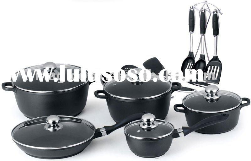 2 layer Xylan 17 pieces die cast aluminium cookware set