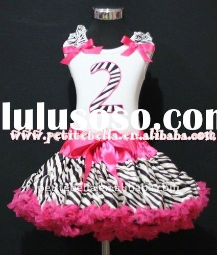 2nd Birthday White Top with Hot Pink Zebra number and Ribbon, Zebra Ruffle with Hot Pink Zebra Petti