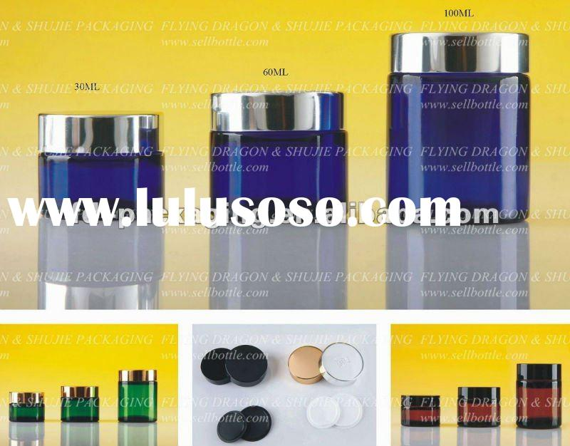 30ml, 60ml, 100ml, amber,blue,green Glass jar with aluminum lid, glass cosmetic jar, cream jar