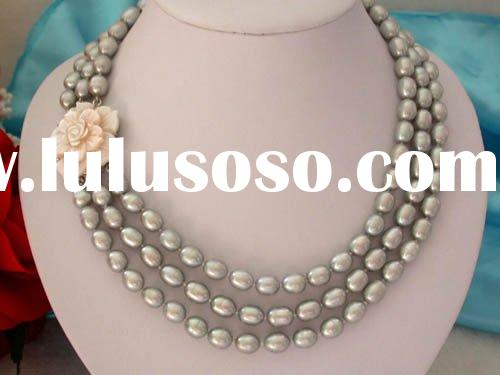 3 strand flower silver grey Freshwater Pearl Jewelry Necklace