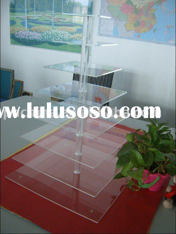8 Tier 5mm Thick Square Maypole Style Clear Acrylic Wedding and Party Cupcake Stand