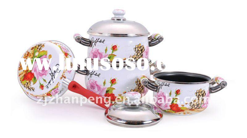 8 pcs non-stick pink porcelain enamel cookware set