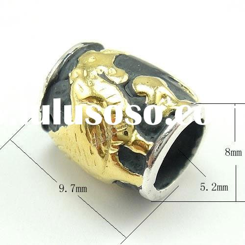925 Sterling Silver Chicken(The Chinese Zodiac) Beads with Gold Plating on