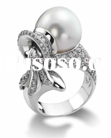 925 Sterling Silver ring inlaid fresh water pearl