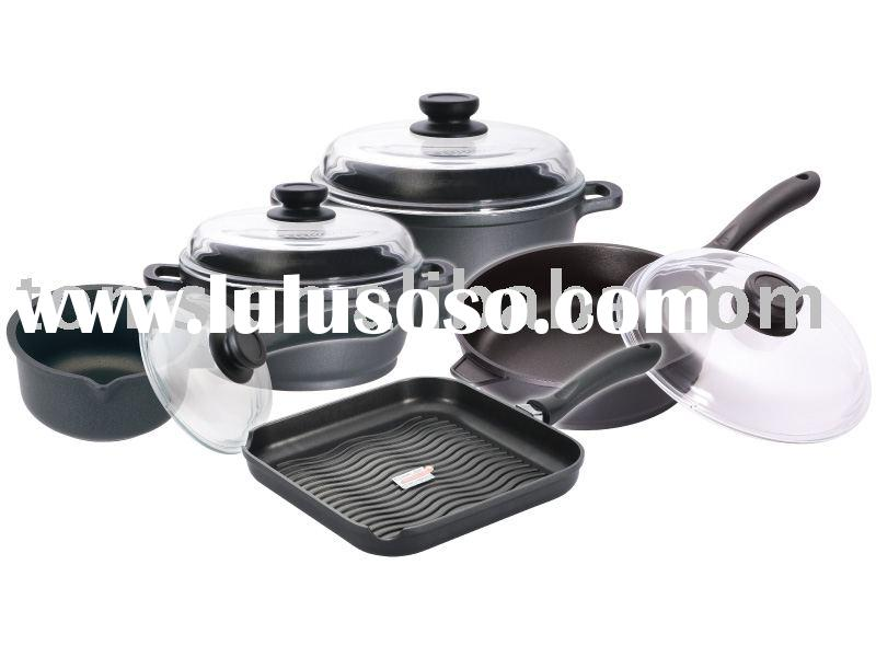 9pcs die cast aluminium cookware set with cast glass lid