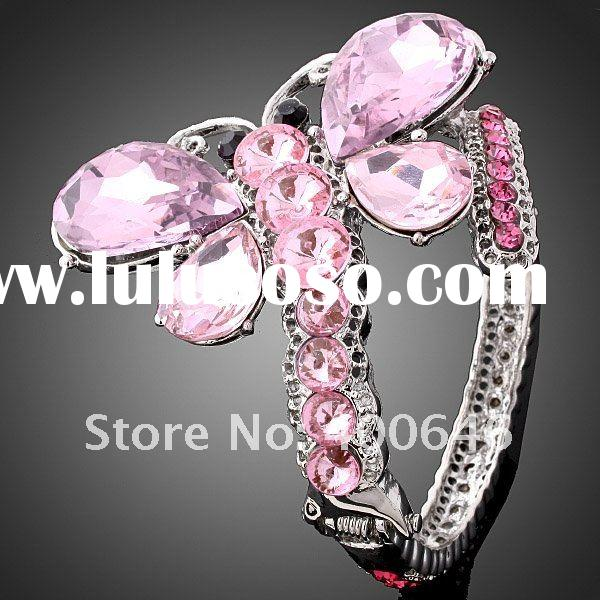 ARINNA Alloy Pink Crystal Butterfly Bracelet Bangle Jewelry B0652