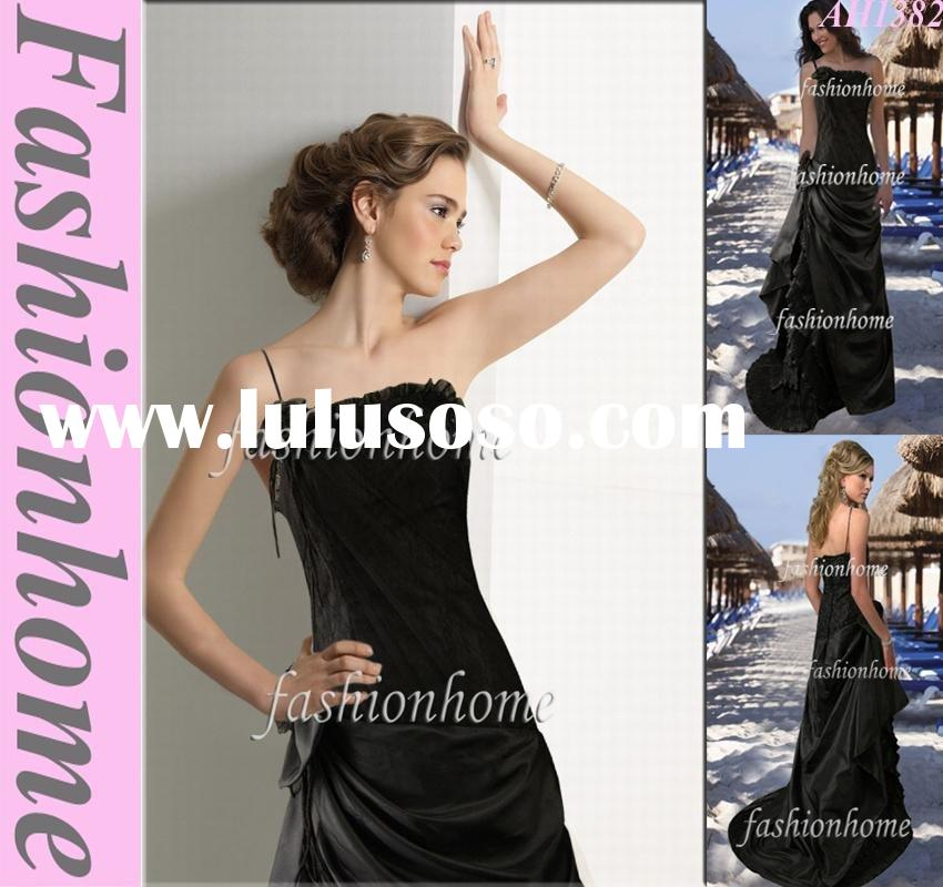 Attractive black One shoulder formal evening blouses AH1382