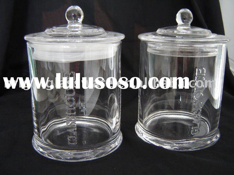 Australia Glass House Jar, candle holder 15oz jar with dome knob handle