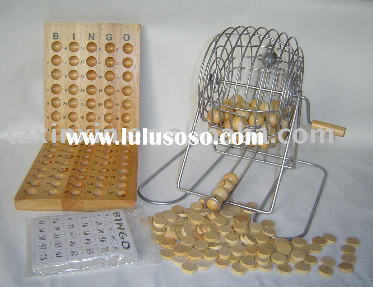 Bingo Bingo Games for Kids With 75 Pieces Wooden Balls One Metal Cage
