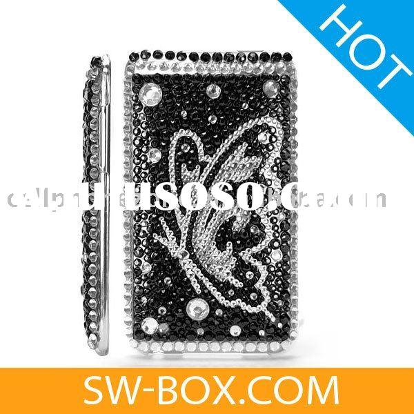 Butterfly Diamond Rhinestone Bling Hard Case for iPod Touch 2 / 3 (Black & Silver)