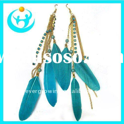 Cheap long feather earrings chain