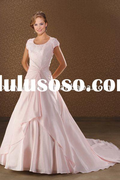 China pink wedding dresses with short sleeves BOW-033