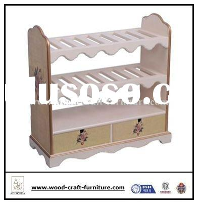 Classic wooden shoe rack, shoes shelf with storage drawers 28-052
