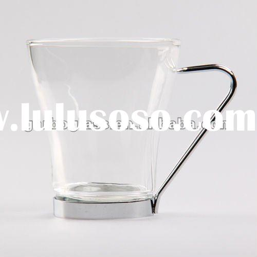 Glass Coffee Cup With Metal Handle Glass Coffee Cup With