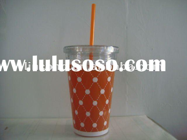 Cold and hot drinking plastic double layer tumbler/cup/glasses with straw and lids