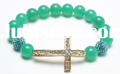 Crystal Sideways Cross Bracelet
