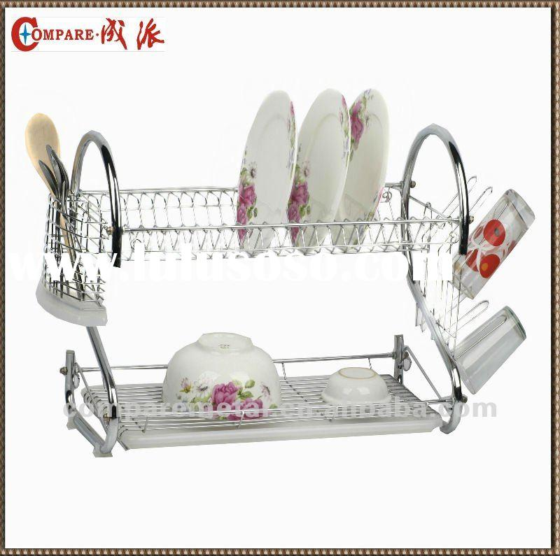 Dual-tier 2-shape chrome wire dish rack with cutlery basket and cup holder