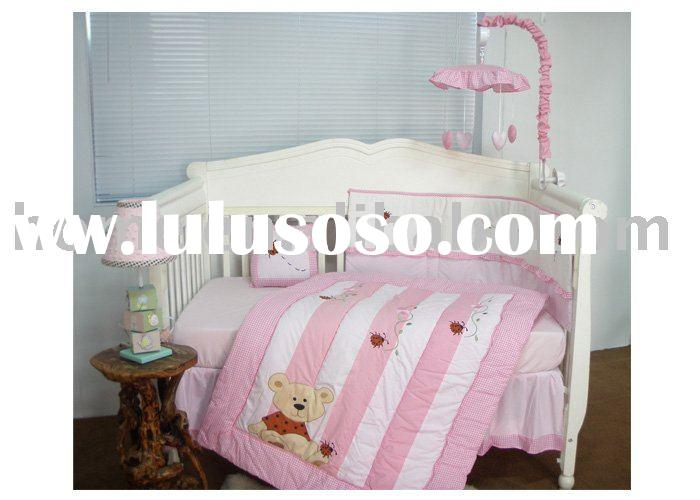 European pink bear embroidery baby bedding set