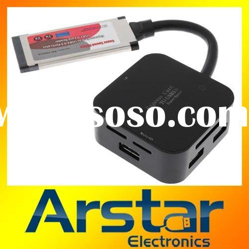 External pcmcia express card to usb 3.0 hub & usb 2.0 card reader for laptop