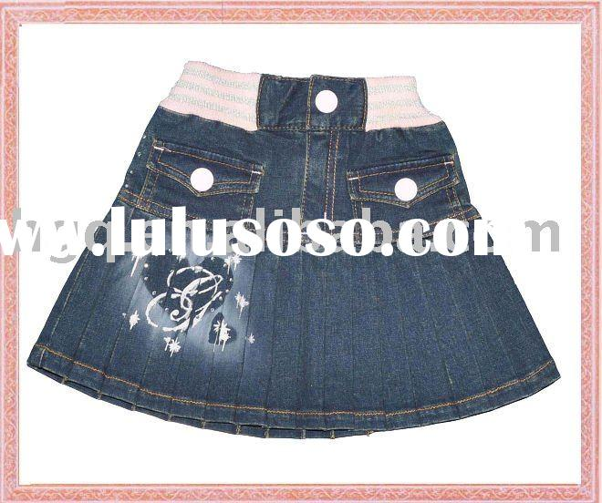 Fashion and beatuiful mazarine Mini kids dress girls jean skirts