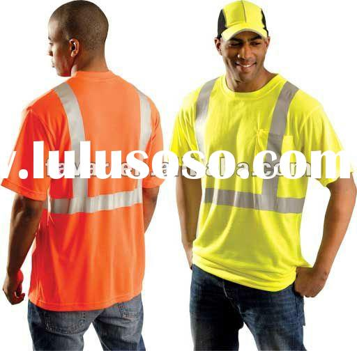 Fluo Orange & Red 3M Reflective Tape Safety Plain T Shirts