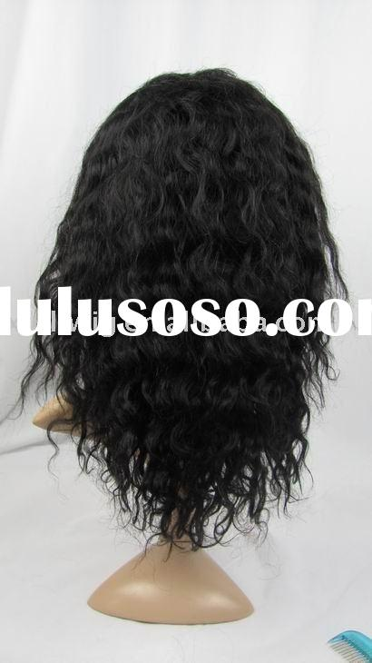 "Full Lace Wig Human Hair 12"" Deep Wave Black African American Indian Remy Hair Lace Wigs"
