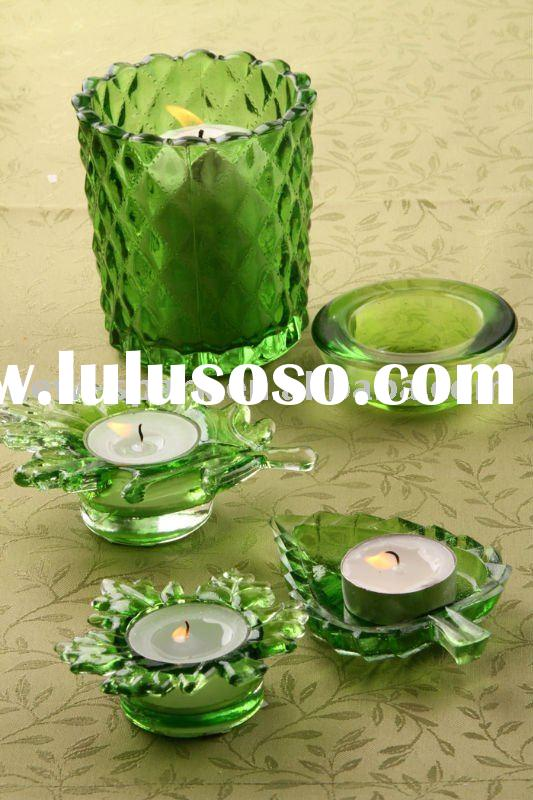 Glassware, glass tealight candle holder;
