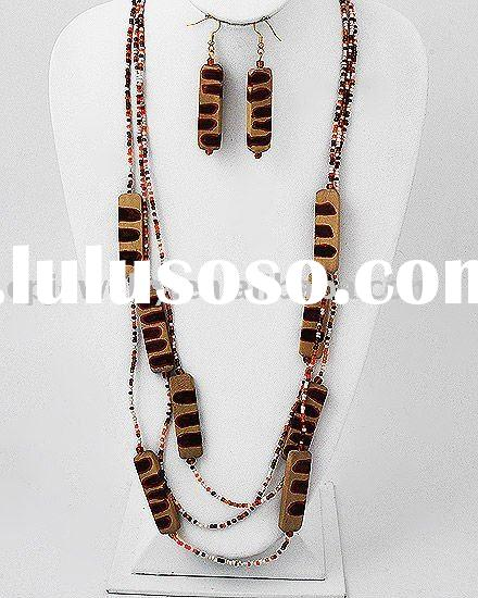 Gold Tone / Red Acrylic Beads / Red Painted Wood / Long Multi Strand Necklace & Fish Hook Earrin