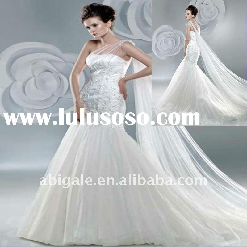 Gracious Mermaid One Shoulder USA Netting and Lace New Style Wedding Dress