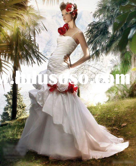 HLX00245 2011 Elegant rushed corset rosette mermaid bridal gown Wedding dress