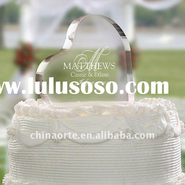 Heart Shape Crystal Cake Topper For Wedding Decoration