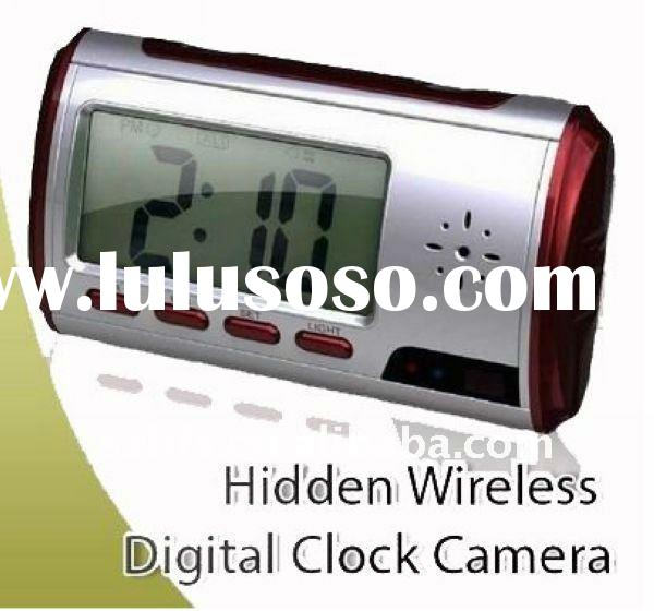 Hidden video camera with motion sensor and remote control in a multi function clock