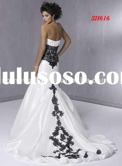 Hot High Quality Strapless White Dress Black Lace Zipper Back Wedding Dress SH616