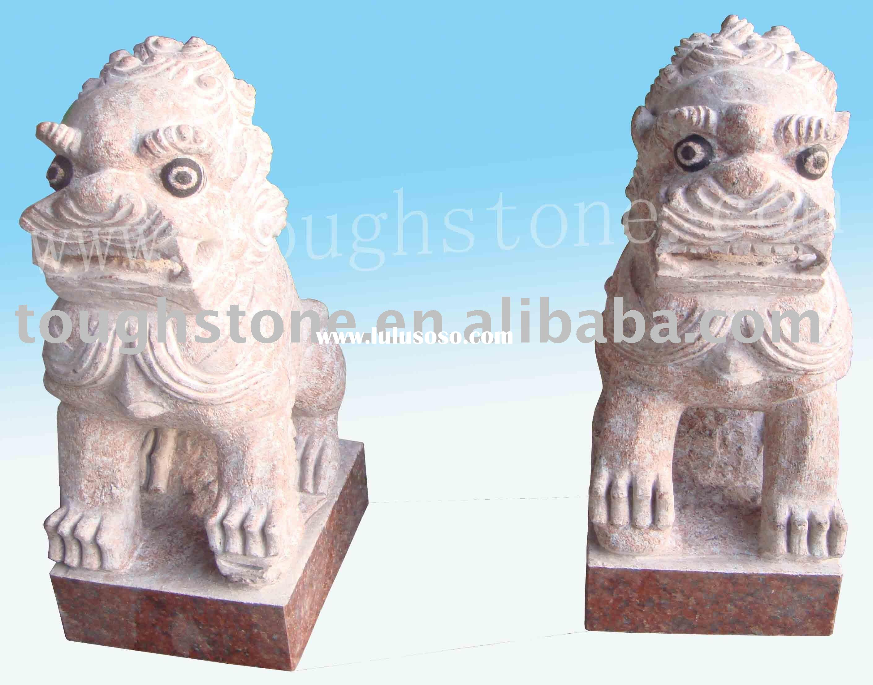 IMPERIAL RED GRANITE OUTDOOR LION STATUES