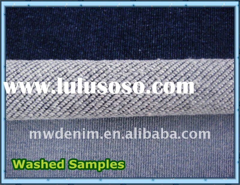 Indigo Fleeces, Knitted Denim Material, 100% Cotton Jeans