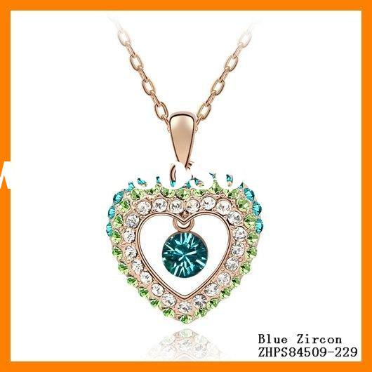 Jewelry Fashion Crystal Sweet Heart Necklaces ZHPS84509
