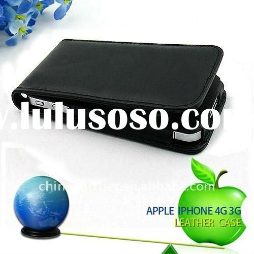 LEATHER FLIP SKIN CASE COVER FOR APPLE IPHONE 4