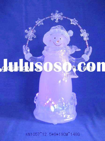 LED color changing acrylic snowman figurine