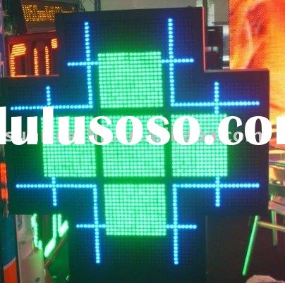LED pharmacy cross sign display text and animations