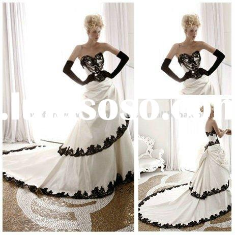 Long Train Taffeta 2012 Wedding Dress Black and White