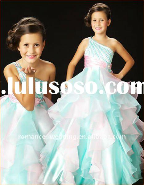 MD0096 Beaded One Shoulder Chiffon Ruffled Kids/Children Party Dress